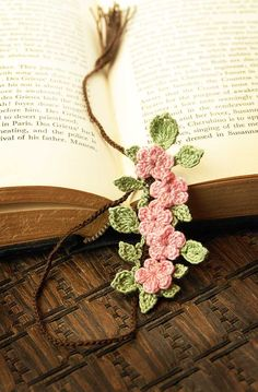 Etsy Transaction - Crocheted Bookmark, Pink Cherry Blossoms