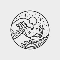 197 Best Wave drawing images in 2020 Doodle Drawings, Easy Drawings, Doodle Art, Drawing Sketches, Drawing Ideas, Wave Drawing, Drawing Art, Geometric Tatto, Logo Design