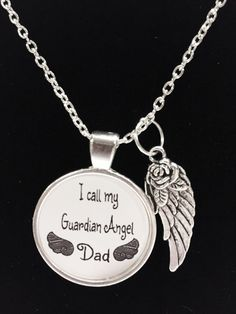 Items similar to Memorial Necklace Dad, Dad Angel, I Call My Guardian Angel Dad Father In Heaven Wing Memory Sympathy Gift Remembrance Memorial Necklace on Etsy I Miss My Dad, Remembrance Tattoos, Remembering Dad, Dad Tattoos, In Memory Of Dad, My Guardian Angel, Memories Quotes, Dad Quotes, Jewelry Quotes