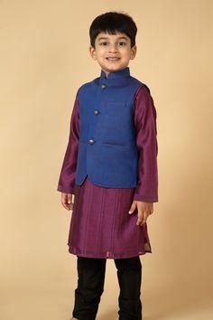 Chanderi kurta churidar wih thread work and linen jacket. Item number KB15-34