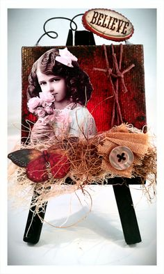 Believe Mini Altered Mixed Media Canvas OOAK. $8.99, via Etsy.
