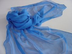Seidenschals - Reine Seide brilliantblau Chiffonschal Langschal - ein Designerstück von textilkreativhof bei DaWanda