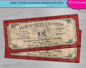 DIY PRINTABLE - Hogwarts Express - Harry Potter Ticket  Birthday Party - Personalized - Digital Printable Invitation Boarding Pass JPEG file