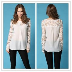 Find More Blouses & Shirts Information about 2015 Women Summer Spring White Blue Crochet Floral Full Sleeve Chiffon Blouse Lace Shirt Blusas De Renda Camisa Feminina Hot,High Quality blous,China blouse black Suppliers, Cheap blouse with short sleeves from Lady Fshion on Aliexpress.com