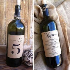 Wine Bottle Table Number/Menu Labels by Paper & Lace