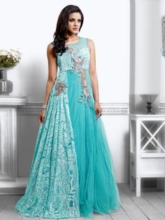 Light Blue Net With Santone Inner Wedding Gown (Free Size)