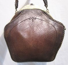 Vintage Jemco Sml Brown Embossed Leather Art Nouveau Style Handbag   eBay