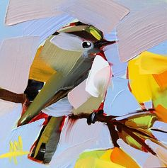 Angela Moulton - daily painting. http://angelamoulton.blogspot.com/2014/09/kinglet-no-31-painting.html
