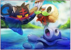 Speedpaint - little pokemon by 3-i.deviantart.com on @DeviantArt (Litten, Rowlet, and Popplio)