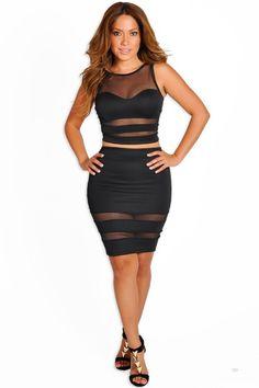 """Zara"" Black Sheer Mesh Two Piece Dress"