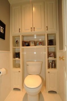 Great Bathroom Storage Solutions Built-ins surrounding toilet, to save usually wasted space. Great for small bathrooms/half baths.Built-ins surrounding toilet, to save usually wasted space. Great for small bathrooms/half baths. Bathroom Storage Solutions, Closet Solutions, Small Space Solutions, Traditional Bathroom, Traditional Toilets, Traditional Kitchens, Bath Remodel, Shower Remodel, Garage Remodel