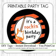 Rock n roll party Guitar Party, Guitar Diy, Diy Cupcake, Cupcake Toppers, Diy Party, Party Favors, Party Ideas, Printable Tags, Print And Cut