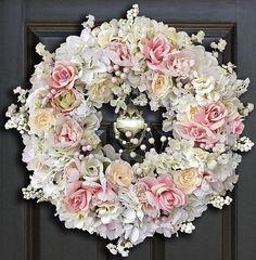 Pink Wedding Wreaths Shabby Chic Wreaths Bridal Shower
