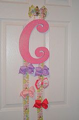 "Bow holder I made for my little girl! The ""C"" was already painted from Hobby Lobby. I made a bow & 2 ribbon bow holders from ribbon also purchased at Hobby Lobby."