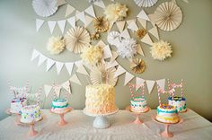 Cake Shoppe themed birthday party. The guest decorated their own personal mini cakes! So cute!