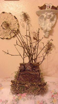 Handmade Woodland Fairy Garden Bed Silk Tie u0026 by ShabbyObsessions & Handmade Woodland Fairy Garden Furniture Bed by ShabbyObsessions ...