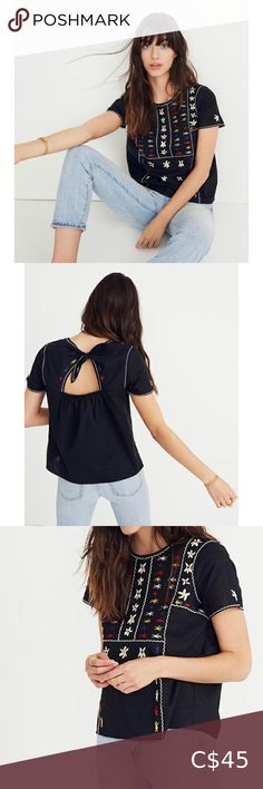"""Madewell Embroidered Tie-Back Cutout Top Madewell Embroidered Tie-Back Cutout Top Colorfully embroidered, this crisp cotton top has a cutout back for a just-sexy-enough upgrade. * Body length: 23"""". * True to size. * Cotton. Madewell Tops Blouses"""