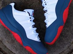 Sports Nike running shoes so beautiful and exquisite,click to come online shopping, Nike Air Jordan 11 Lows (Customs) Arizona Wildcats (Red and Navy and White) Red Bottoms