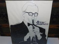 "VTG Art Drawing Jazz Musician Benny Goodman Signed Mary Koster 16x20"" Framed"