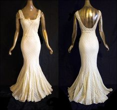 SPECTACULAR Vintage 30's Mermaid Dress Ivory Wedding Gown Bridal 1930's Bias Cut Evening Party Gown on Etsy, $850.00
