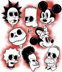 Rick und Morty - Ricke and Morti - Tattoo Cartoon Tattoos, Cartoon Drawings, Cartoon Art, Cool Drawings, Doodle Tattoo, Doodle Art, Arte Horror, Horror Art, Tattoo Sketches