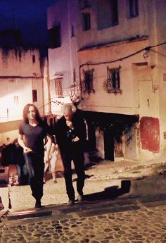 Tom Hiddleston and Jim Jarmusch leave the set of Only Lovers Left Alive. Gif-set (by hiddlescheekbatch): http://hiddlescheekbatch.tumblr.com/post/124697591419/tom-hiddleston-and-jim-jarmusch-leave-the-set-of