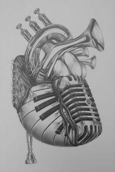 Serce złożone z instrumentów muzycznych wzrór na tatuaż