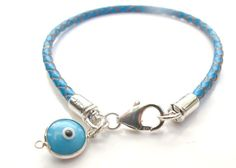 Turquoise Leather Sterling Silver Blue Evil Eye Charm Bracelet Good Luck Jewelry