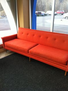 Extra long Orange Mid Century Couch Mod Vintage Retro. $999.00, via Etsy. Cool couch!