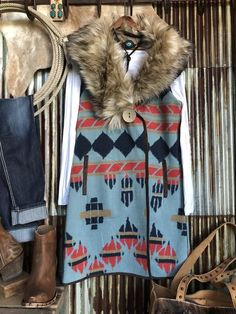 The 77 West - Dusty blue southwest old ranch vest. Cowgirl Chic, Western Chic, Cowgirl Style, Cowgirl Fashion, Cute Fall Outfits, Winter Outfits, Country Fashion, Country Girls, Country Chic