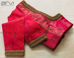 Stunning pink color designer blouse with creeper and leaf design hand embroidery thread work on neckline and sleeves. Kurta Designs, Cutwork Blouse Designs, Hand Work Blouse Design, Wedding Saree Blouse Designs, Simple Blouse Designs, Stylish Blouse Design, Blouse Simple, Sari Bluse, Blouse Designs Catalogue