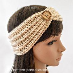 Free crochet pattern: Marigold Headband by Pattern Paradise Crochet Cable, Easy Crochet, Free Crochet, Crochet Headband Free, Crochet Beanie, Crochet Turban, Crochet Scarves, Crochet Hooks, Crochet Basics