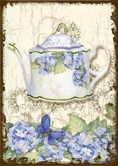 Cartões de nota Hydrangea Tea Time por BluebirdCardDesigns no Etsy, $ 10,00
