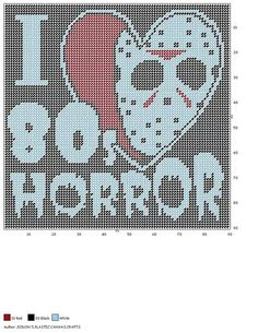 I LOVE 80s HORROR by JODON'S PLASTIC CANVAS CRAFTS -- WALL HANGING