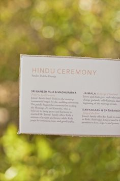 ceremony explanation - Indian Fusion Wedding