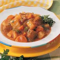 Homemade Italian Sausage Stew - to make slow cooker version: cook sausage in pan. mean while combine wet ingredients and spices pour into slow cooker. add potatoes, a cup of extra veggies if desiered, and sausage.  once done cooking you can mix in extra cornstarch for desired thickness.