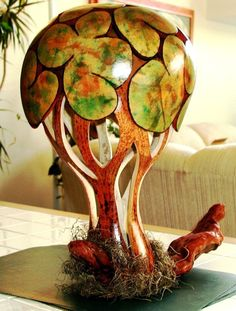 OMG!!! Love this carved gourd tree lamp