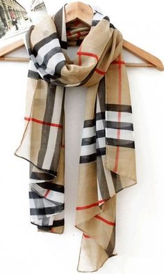 Classic plaid chiffon scarf