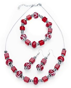 Facet Glass Beaded Holiday Jewelry Set