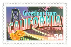 The California State Postage Stamp  Depicted above is the California state 34 cent stamp from the Greetings From America commemorative stamp series. The United States Postal Service released this stamp on April 4, 2002. The retro design of this stamp resembles the large letter postcards that were popular with tourists in the 1930's and 1940's.