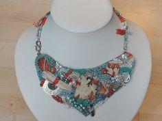 "Glasketten - Perlenstickerei - Glasperlencollier ""Coral... - ein Designerstück von Recycling-Art bei DaWanda Beaded Embroidery, Recycling, Coral, Etsy, Beads, Jewelry, Fashion, Neck Chain, Beading"
