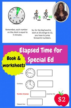 $2.  Elapsed Time booklet and worksheets for special education.  This is a 10 page student booklet to define the steps to complete to determine how much time has elapsed.  There are 5 practice worksheets that follow which go through the steps in the booklet and provides clear visuals, perfect for students with autism and other special needs.  Download at:  https://www.teacherspayteachers.com/Product/How-to-Tell-Elapsed-Time-booklet-and-practice-worksheets-511427