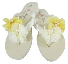 Low Ivory Heel Wedding Flip Flops with Yellow Chiffon and Pearl Flowers, Bridesmaid Bride -- Read more  at the image link.