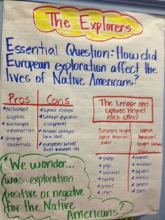 Explorers Essential Question chart                                                                                                                                                                                 More