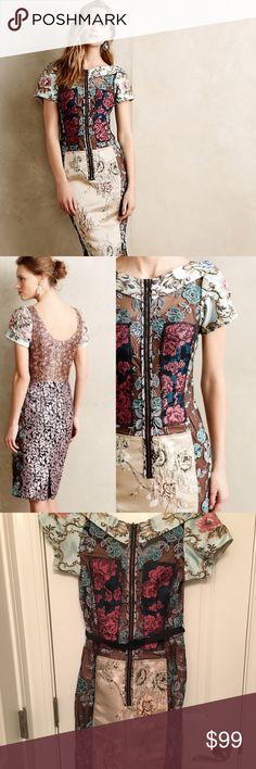 """Anthropologie Byron Lars Pieced Brocade Dress Sz 2 NWOT but never worn. Put on weight around hips, so it's now a tad too tight for me!  Style No. 4130231804141  From Beguile by Byron Lars Polyester-nylon-viscose brocade Features a polyester-cotton-spandex shapewear lining Slim sheath silhouette Front zip Dry clean Imported  Dimensions   Regular falls 39"""" from shoulder Petite falls 36.25"""" from shoulder  Approximate measurements: Bust: 30"""" (I'm 34C and it fits perfect) Waist: 26"""" Hips: 34""""…"""