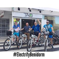 New customers from #uk on #benidorm discover every corner with our #taobike and enjoying this amazing day!! #responsibletourism #ecofriendly #electricbike #bicicletaselectricas #bicielectrica #rentbike
