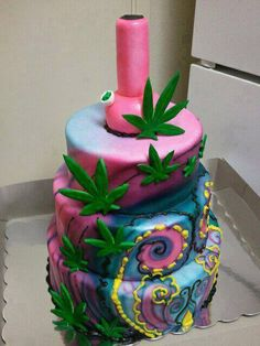 A collection of cannabis themed birthday cakes.