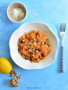 Shredded carrot and apple salad. Shredded carrot and apple salad with raisins cinnamon walnuts and coconut. Sweet and sour refreshing quick to prepare! Carrot Salad, Apple Salad, Shredded Carrot, Shredded Coconut, Best Pierogi Dough Recipe, Roasted Walnuts, Best Salad Recipes, Macaroni And Cheese, Carrots