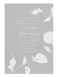 Sophisticated stationery    A beautifully formal invitation sets the tone for a fabulous day.    Calla lilly invitation, from a selection, Chartula (chartula.co.uk)
