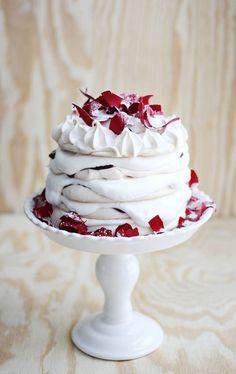 Pavlova with rose whipped cream